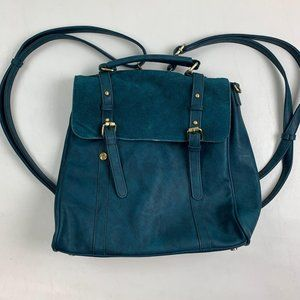 ModCloth Purse Backpack Faux Leather Teal Medium